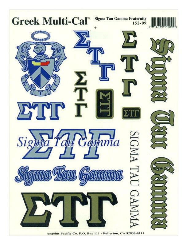 Sigma Tau Gamma Multi Greek Decal Sticker Sheet