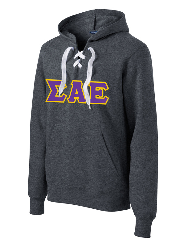 DISCOUNT-Sigma Alpha Epsilon Lace Up Pullover Hooded Sweatshirt