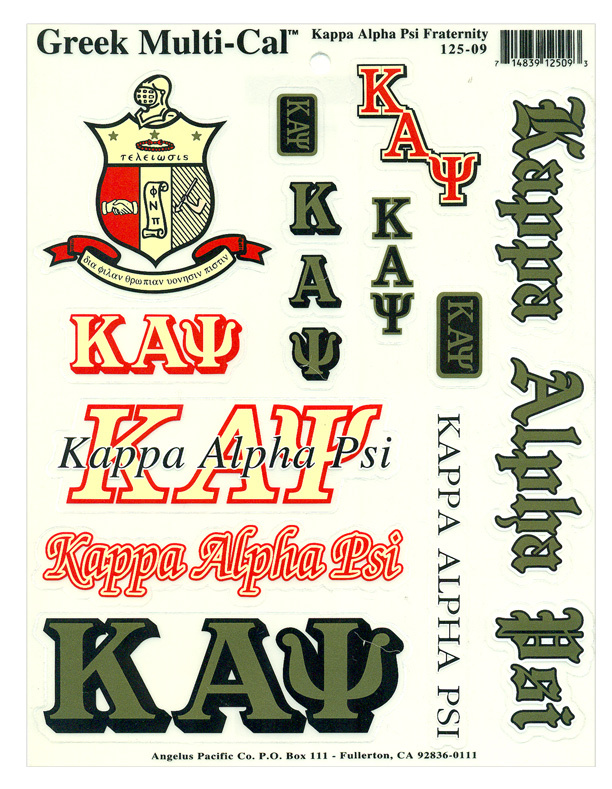 Kappa Alpha Psi Multi Greek Decal Sticker Sheet