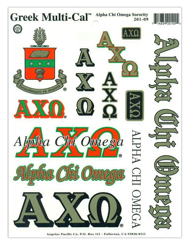 Alpha Chi Omega Multi Greek Decal Sheet