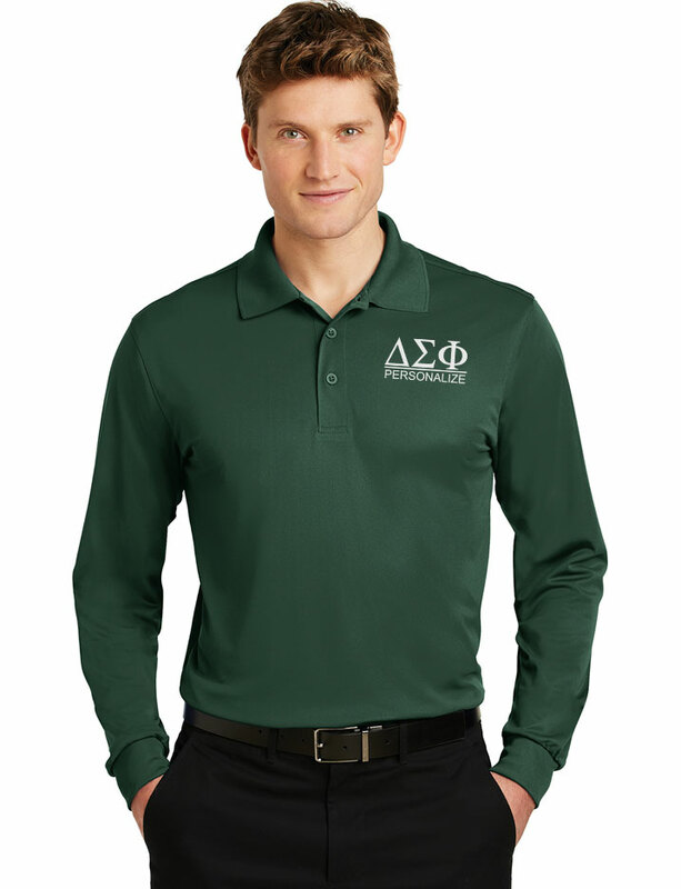 Delta Sigma Phi- $30 World Famous Long Sleeve Dry Fit Polo