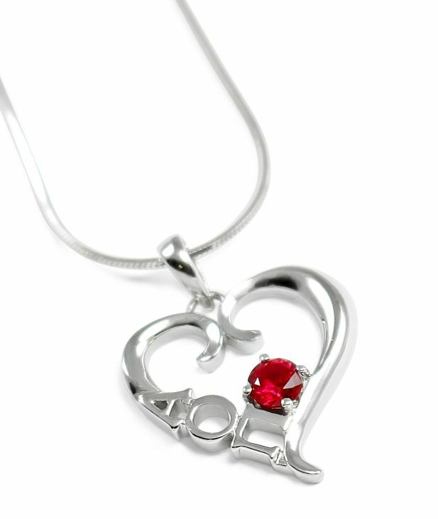 Alpha Omicron Pi Sterling Silver Heart Pendant with Swarovski™ Red Crystal