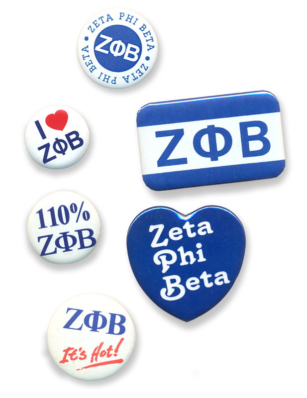 Zeta Phi Beta Sorority Buttons 6-Pack