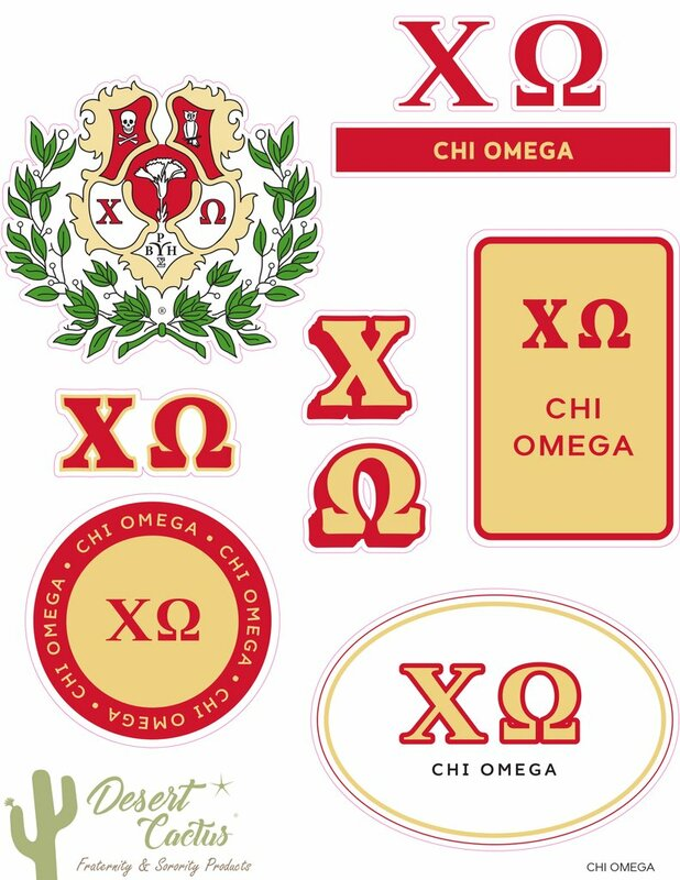 Chi Omega Traditional Sticker Sheet