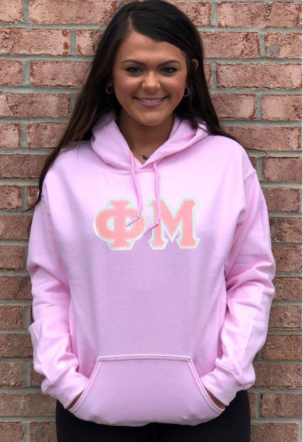 DISCOUNT Phi Mu Lettered Hooded Sweatshirt