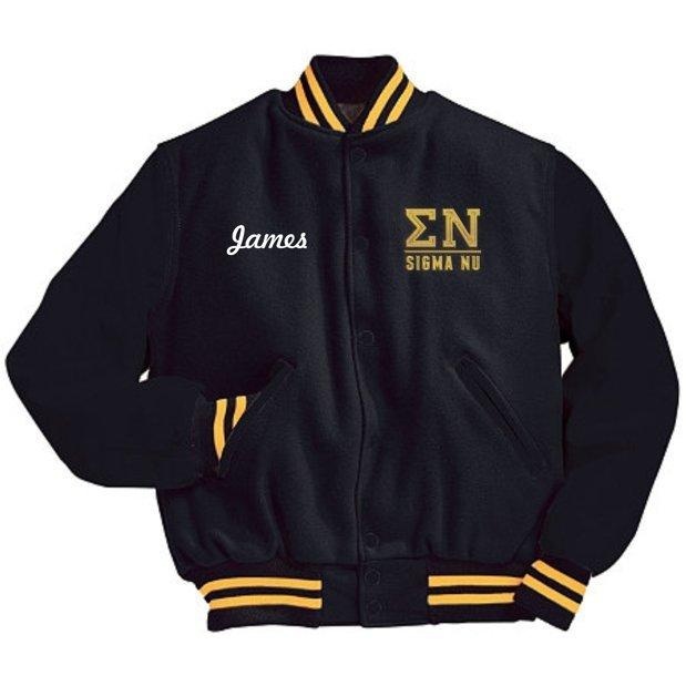Fraternity Leather Sleeved Varsity Jacket