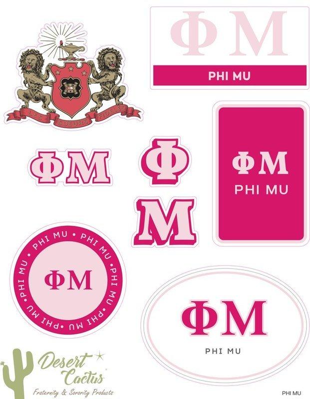 Phi Mu Traditional Sticker Sheet
