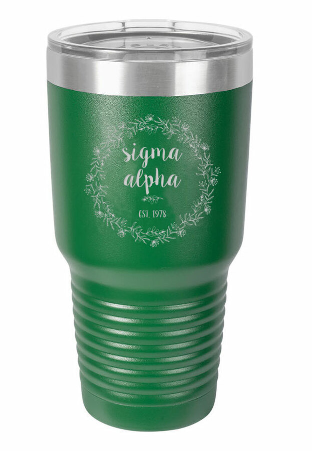 Sigma Alpha Vacuum Insulated Floral Tumbler
