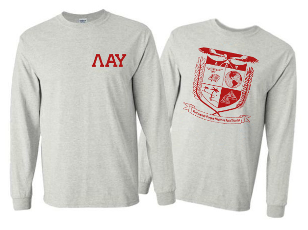 Lambda Alpha Upsilon World Famous Crest - Shield Long Sleeve T-Shirt- $19.95!