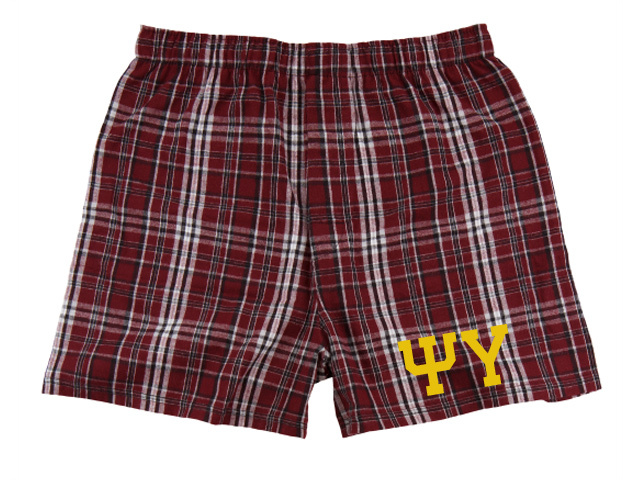 Psi Upsilon Flannel Boxer Shorts