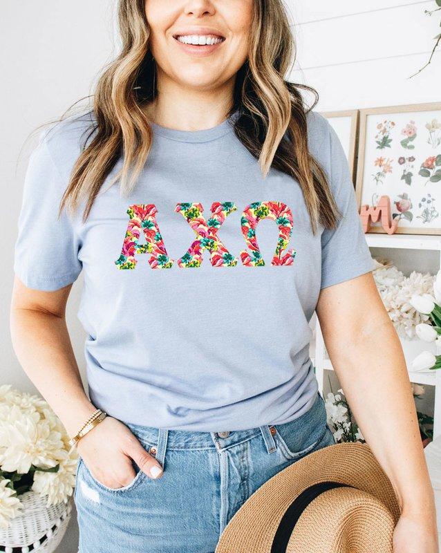 Alpha Chi Omega Comfort Colors Lettered Greek Short Sleeve T-Shirt