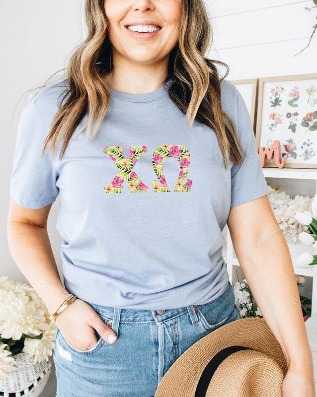 Chi Omega Comfort Colors Lettered Greek Short Sleeve T-Shirt