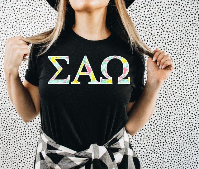 Sigma Alpha Omega Lemon Zest Lettered Short Sleeve T-Shirt