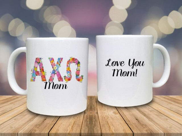 Mom Floral Greek Coffee Mug
