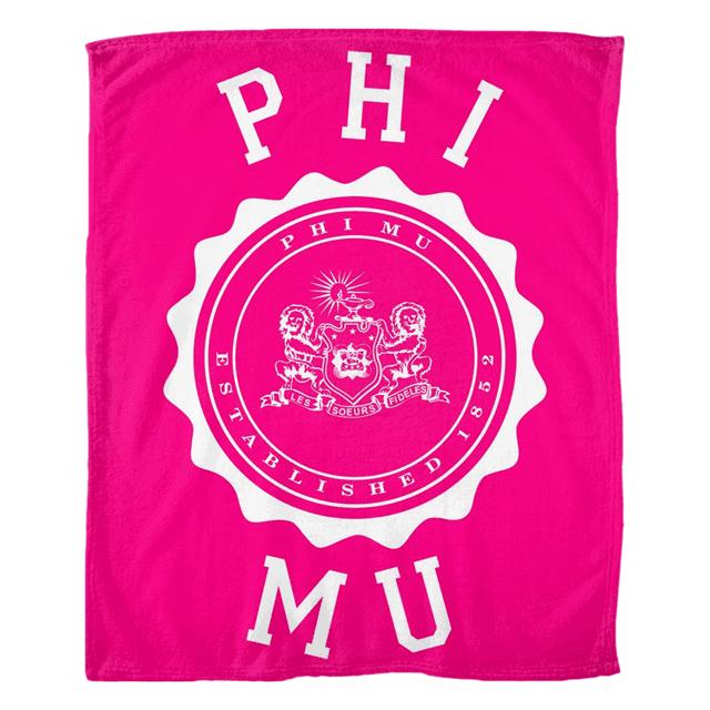 Phi Mu Seal Fleece Blanket