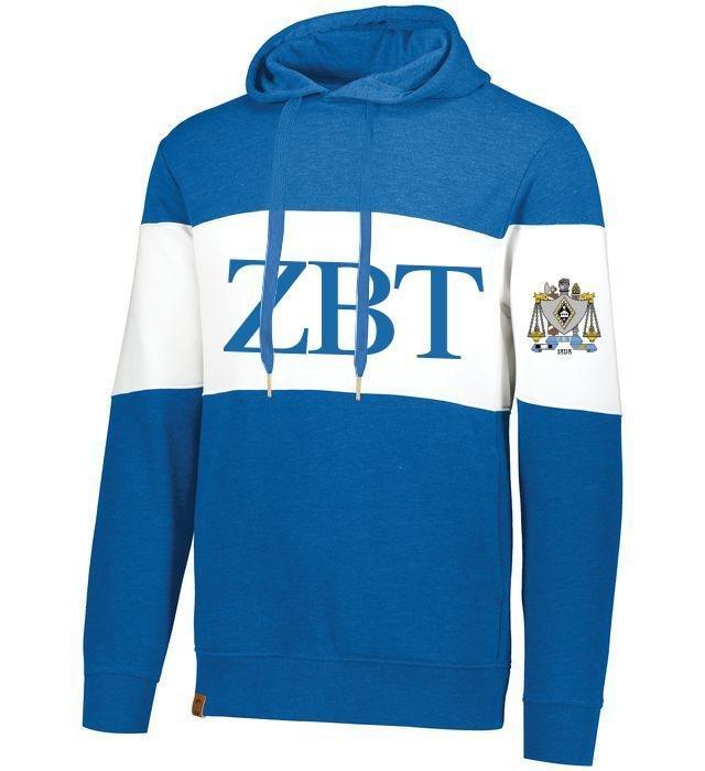 Zeta Beta Tau Ivy League Hoodie W Crest On Left Sleeve