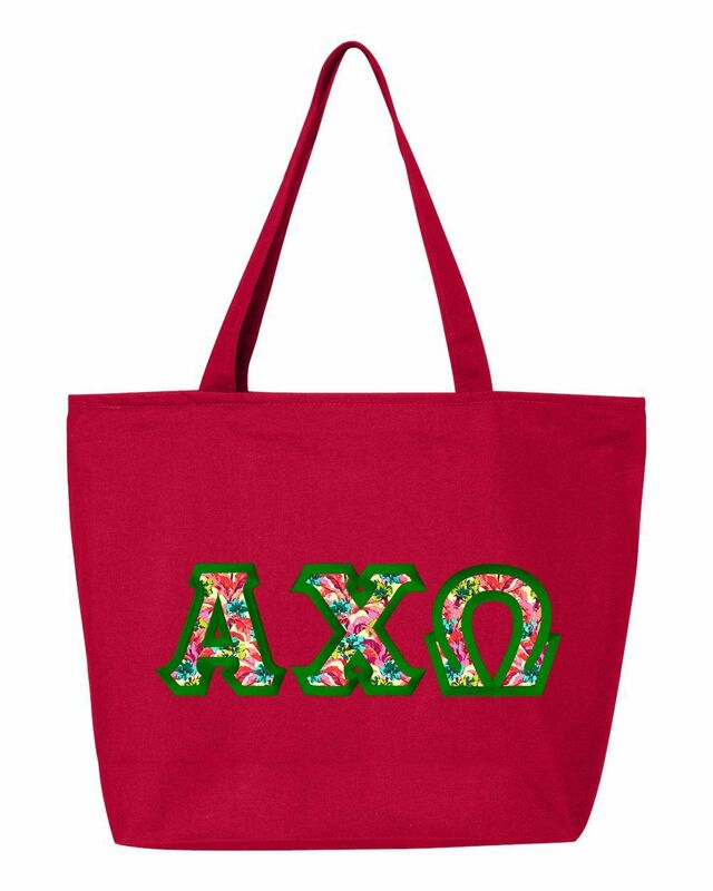 $19.99 Alpha Chi Omega Custom Satin Stitch Tote Bag