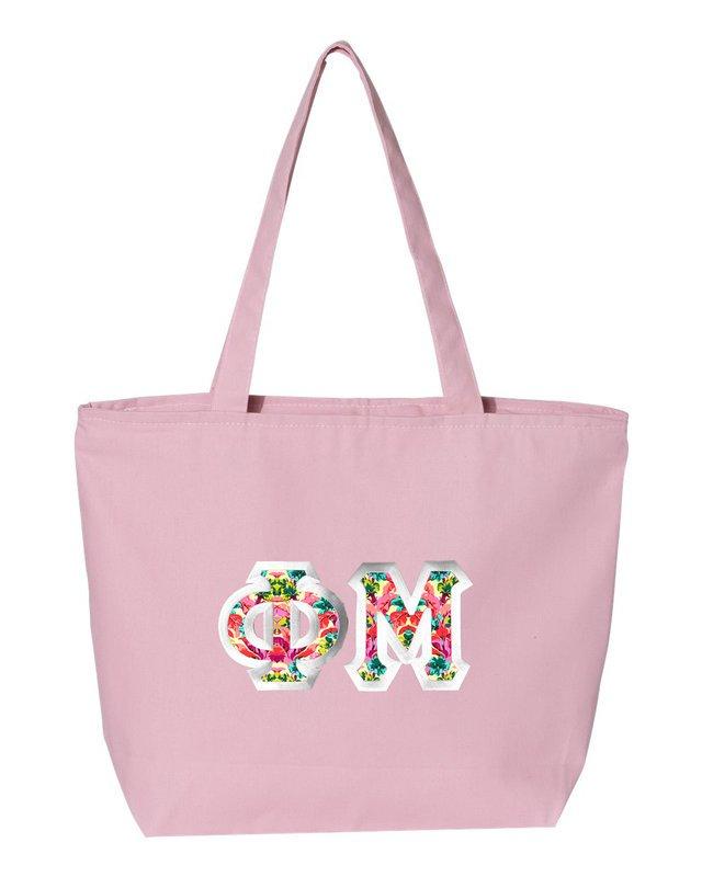 $19.99 Phi Mu Custom Satin Stitch Tote Bag