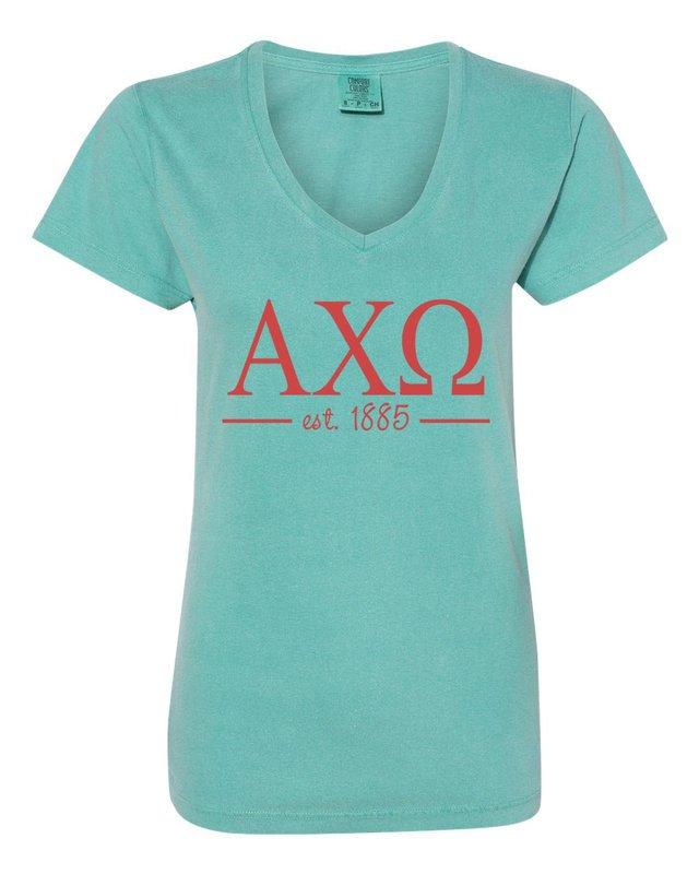 Alpha Chi Omega Comfort Colors Custom V-Neck T-Shirt