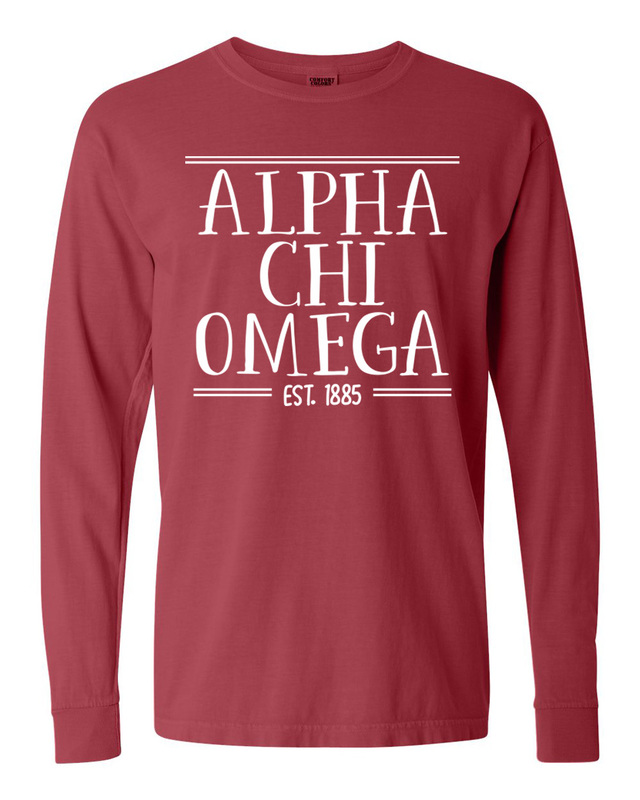 Alpha Chi Omega Comfort Colors Custom Long Sleeve T-Shirt