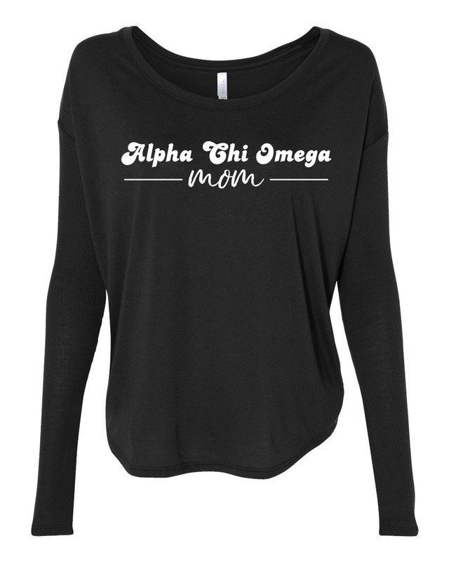 Alpha Chi Omega Mom Bella + Canvas - Women's Flowy Long Sleeve Tee