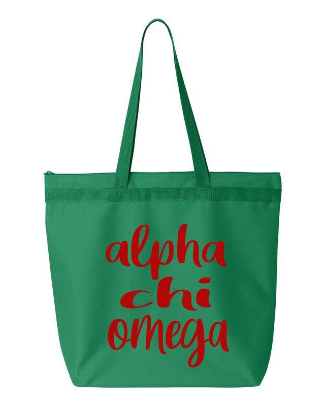 Alpha Chi Omega Script Tote Bag