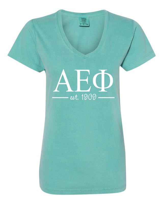 Alpha Epsilon Phi Comfort Colors Custom V-Neck T-Shirt