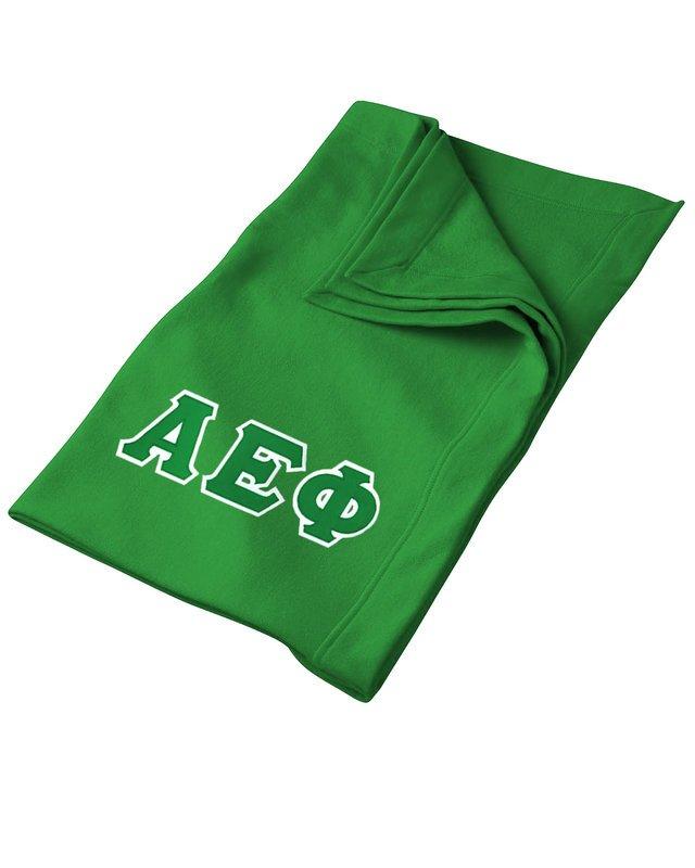 DISCOUNT-Alpha Epsilon Phi Lettered Twill Sweatshirt Blanket