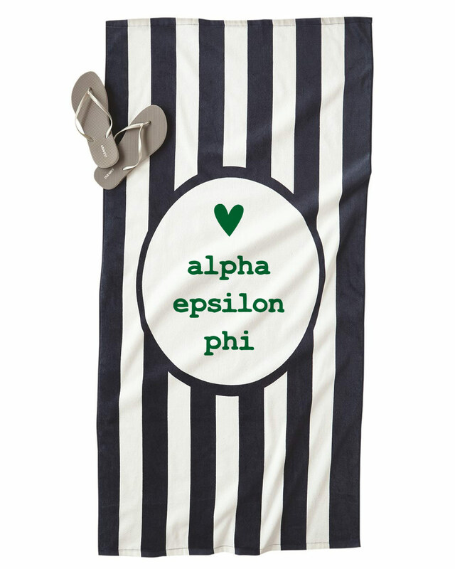 Alpha Epsilon Phi Striped Beach Towel