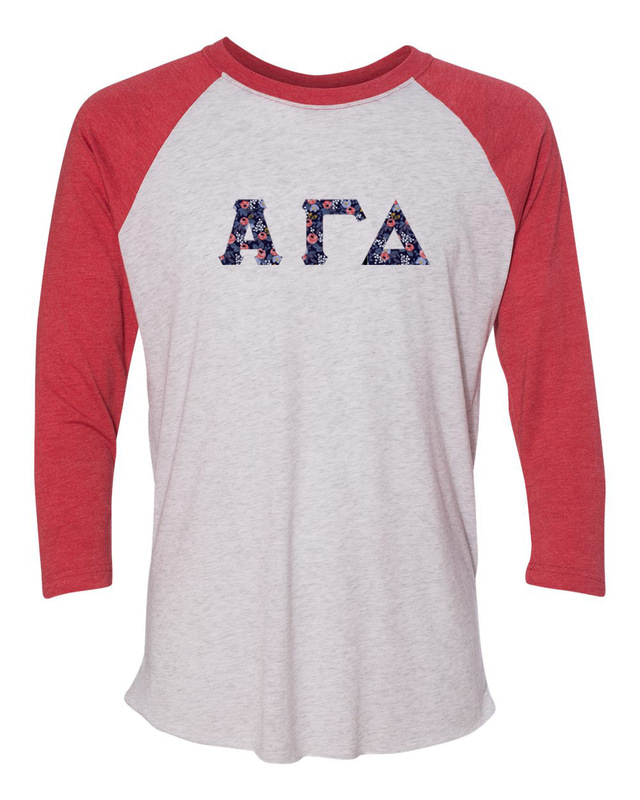 Alpha Gamma Delta Unisex Tri-Blend Three-Quarter Sleeve Baseball Raglan Tee
