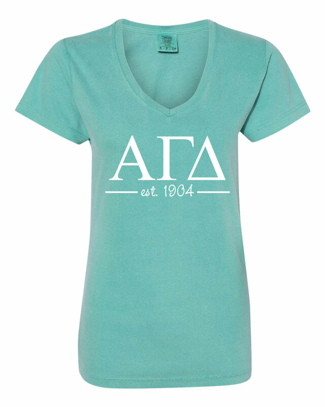 Alpha Gamma Delta Comfort Colors Custom V-Neck T-Shirt