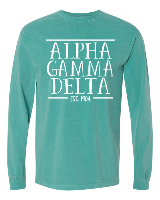 Alpha Gamma Delta Comfort Colors Custom Long Sleeve T-Shirt