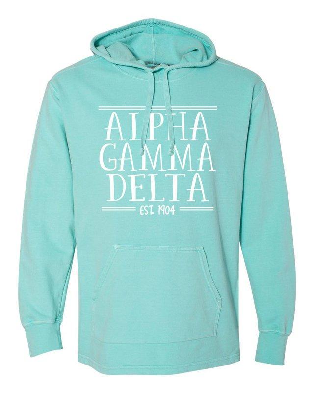 Alpha Gamma Delta Comfort Colors Terry Scuba Neck Custom Hooded Pullover