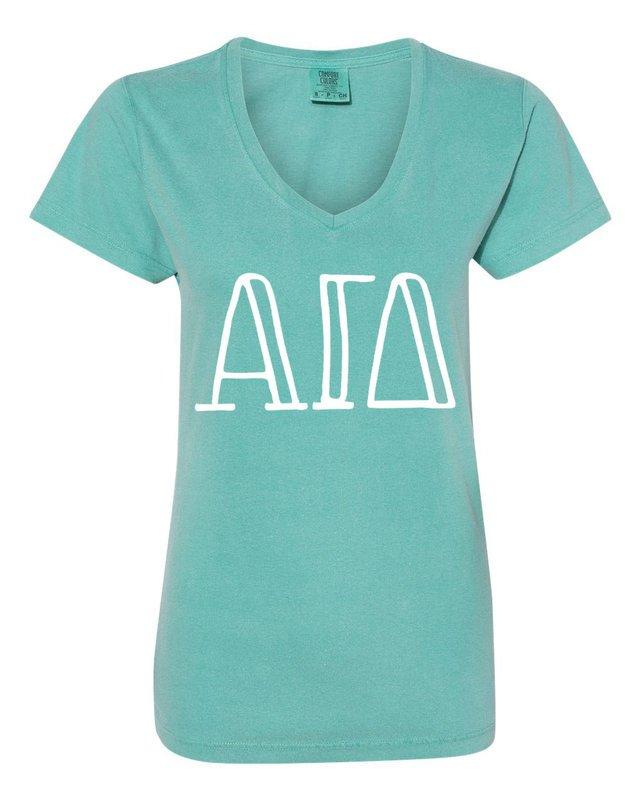 Alpha Gamma Delta Comfort Colors V-Neck T-Shirt