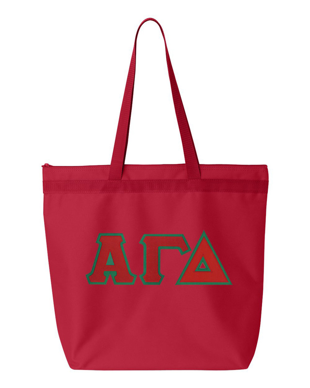 DISCOUNT-Alpha Gamma Delta Lettered Game Day Tote