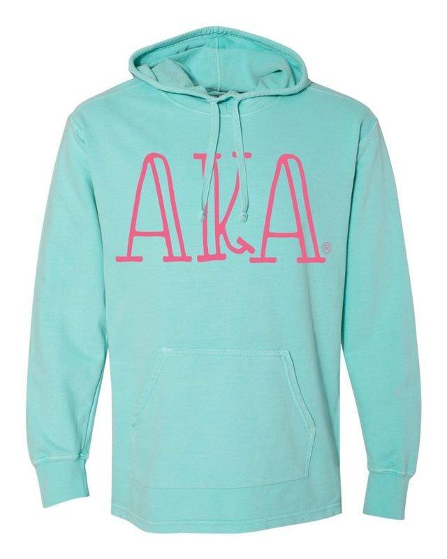 Alpha Kappa Alpha Comfort Colors - Terry Scuba Neck Greek Hooded Pullover