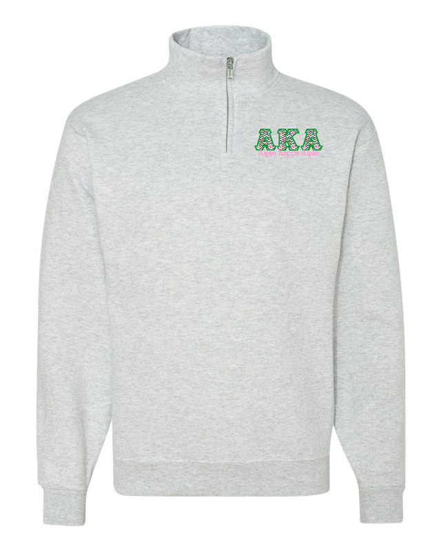Alpha Kappa Alpha Twill Greek Lettered Quarter zip