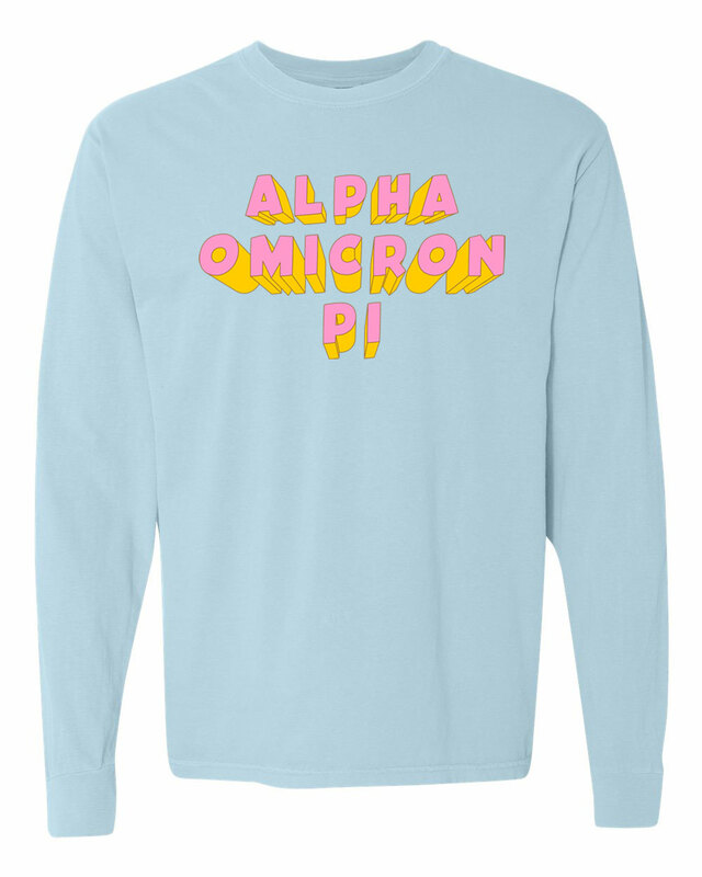 Alpha Omicron Pi 3Delightful Long Sleeve T-Shirt - Comfort Colors