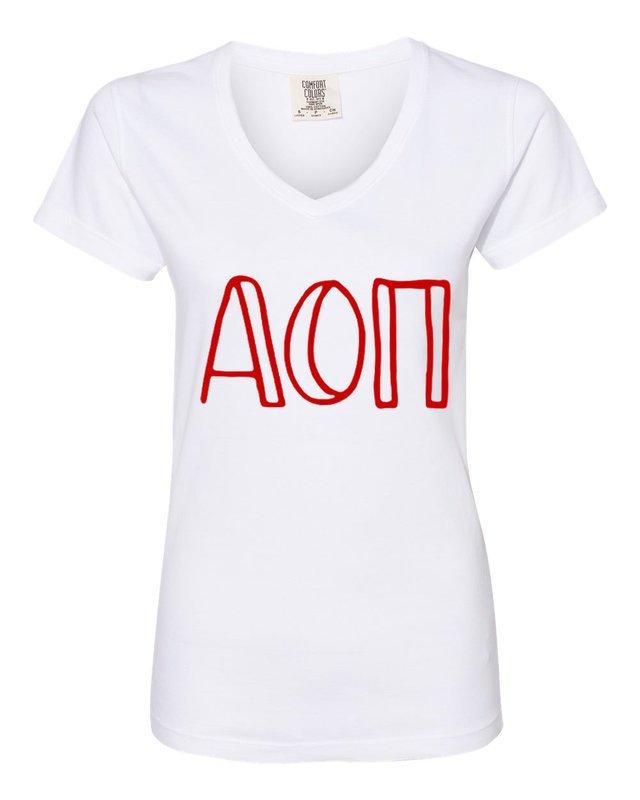 Alpha Omicron Pi Comfort Colors V-Neck T-Shirt