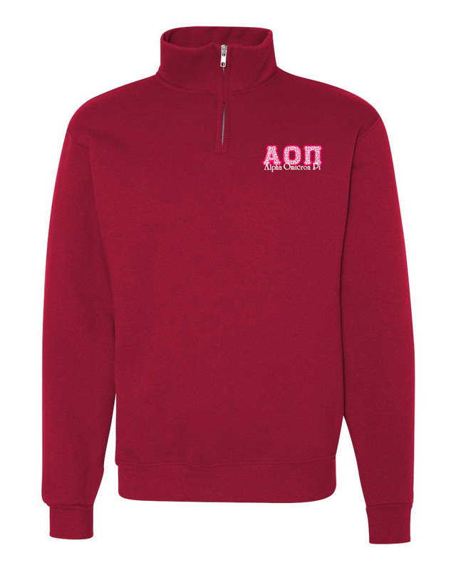 Alpha Omicron Pi Twill Greek Lettered Quarter zip