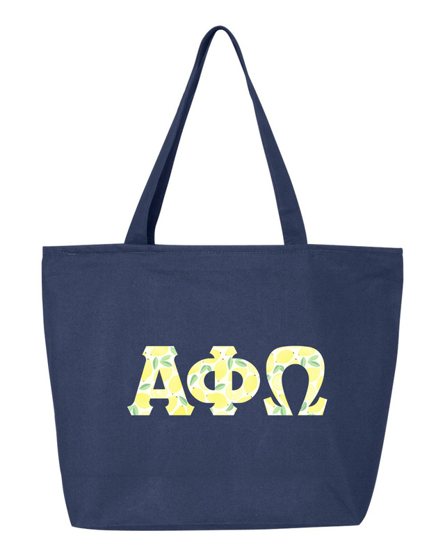Alpha Phi Omega Greek Letter Zipper Tote