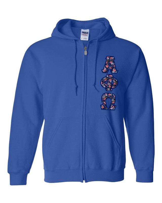 """Alpha Phi Omega Lettered Heavy Full-Zip Hooded Sweatshirt (3"""" Letters)"""