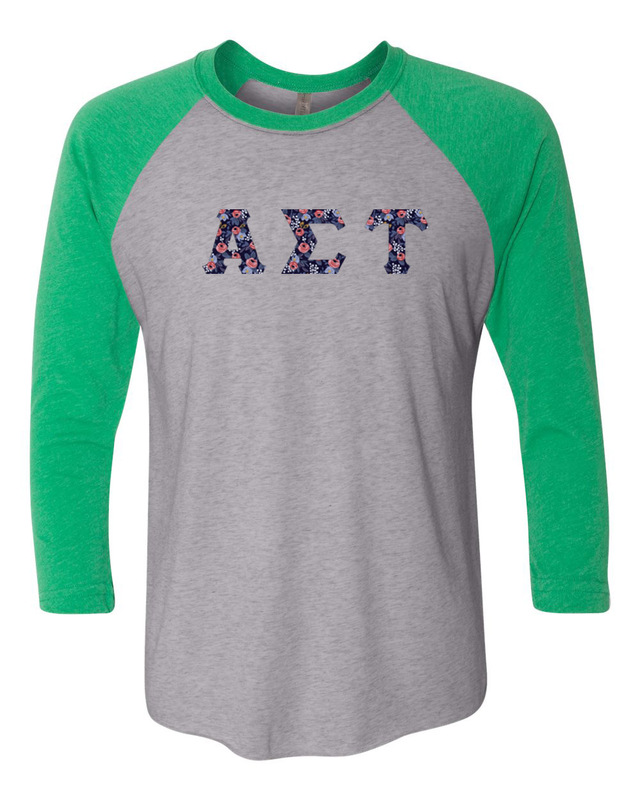 Alpha Sigma Tau Unisex Tri-Blend Three-Quarter Sleeve Baseball Raglan Tee
