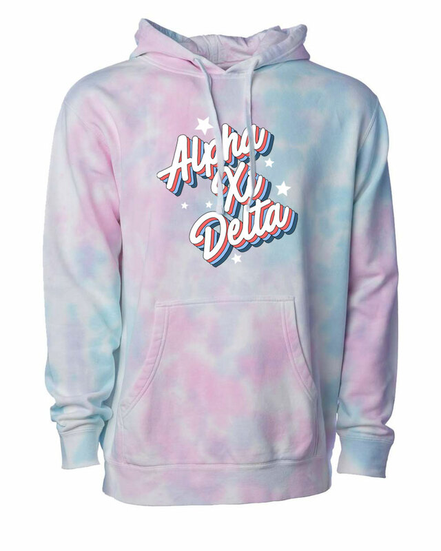Alpha Xi Delta Cotton Candy Tie-Dyed Hoodie