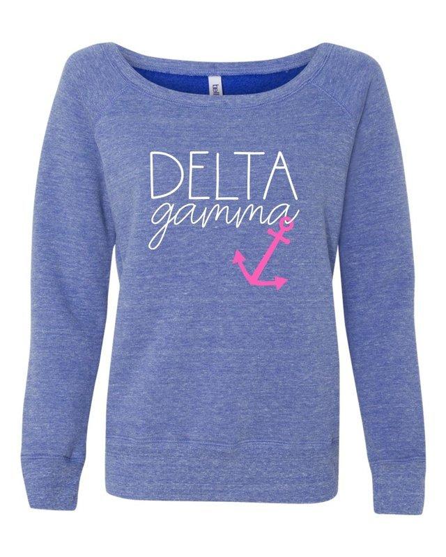 Delta Gamma Anchor Script Fleece Wideneck Sweatshirt