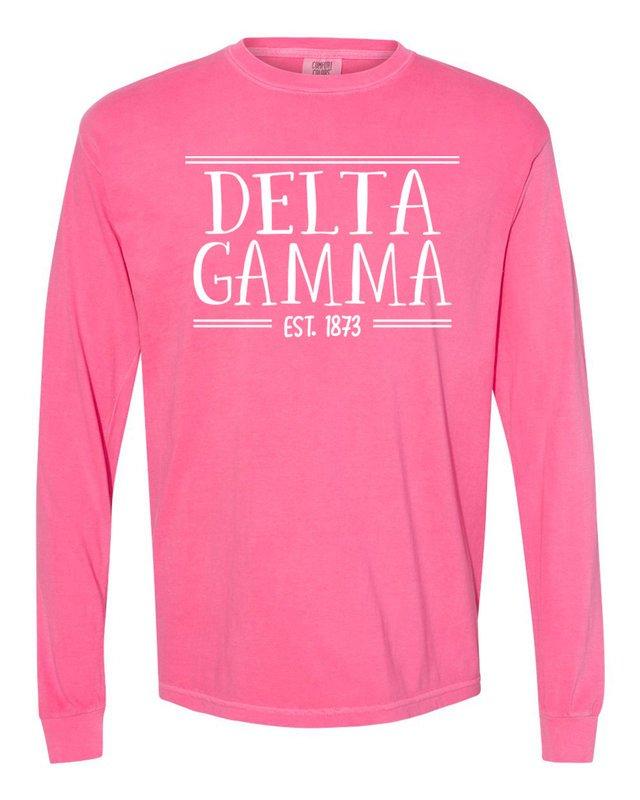 Delta Gamma Comfort Colors Custom Long Sleeve T-Shirt