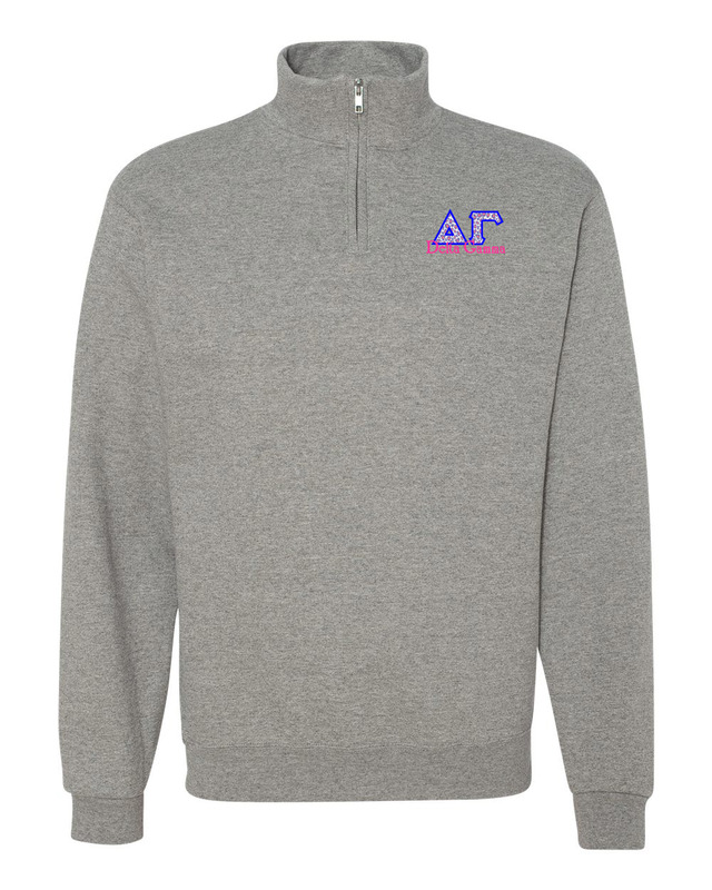 Delta Gamma Twill Greek Lettered Quarter zip