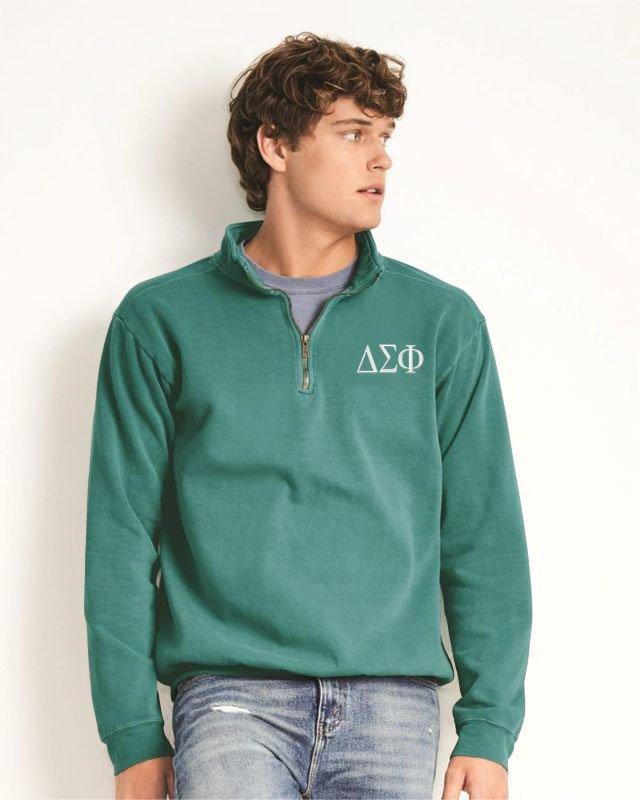 Delta Sigma Phi Comfort Colors Garment-Dyed Quarter Zip Sweatshirt