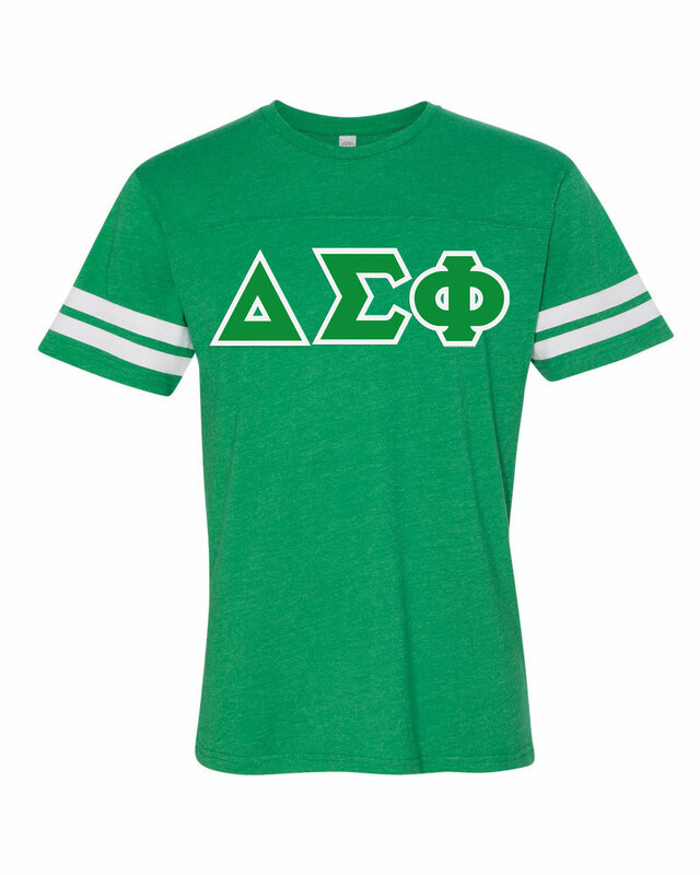 Delta Sigma Phi World Famous Greek Twill Football Fine Jersey Tee