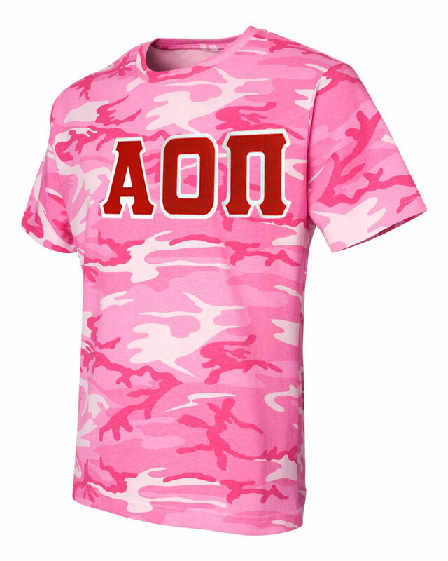 DISCOUNT-Alpha Omicron Pi Lettered Camouflage T-Shirt